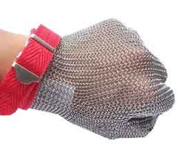 Metal mesh glove with textile strap