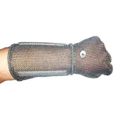 Metal glove with long sleeve, 15 cm