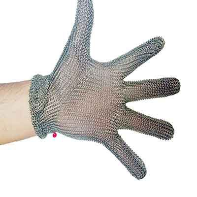 Metal mesh gloves with metal spring strap