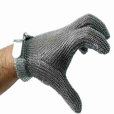 Metal mesh glove with plastic strap