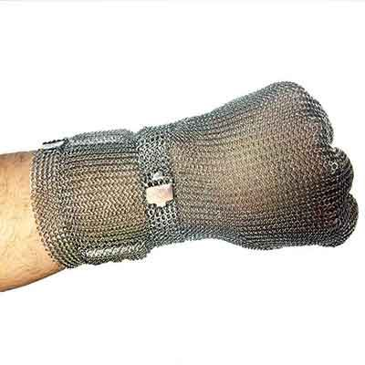 Ring mesh glove with metal claw strap