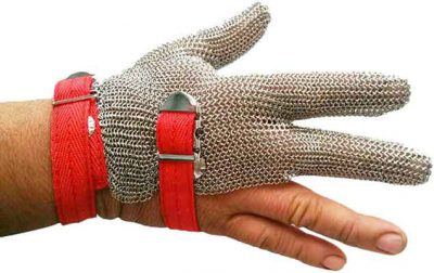 3 finger ring mesh gloves